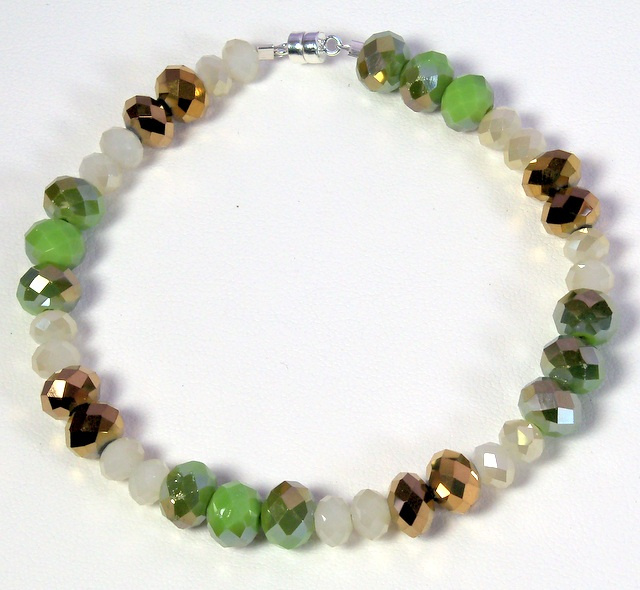 NEW! Avocado, Ivory, and Copper Bracelet
