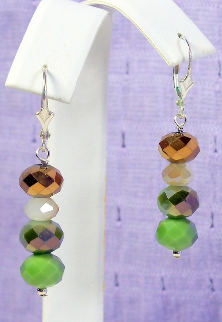 NEW! Avocado, Ivory, and Copper Earrings