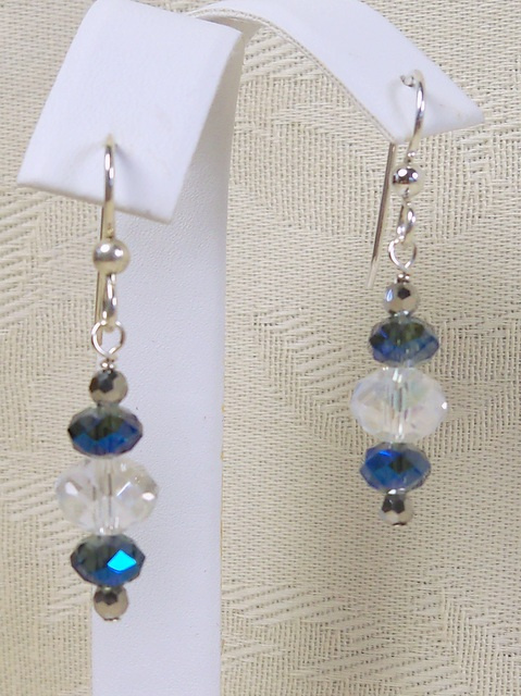NEW! Blue Vitrail and AB Earrings