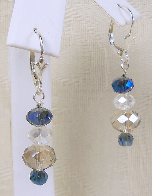 NEW! Light Topaz and Blue Vitrail Earrings