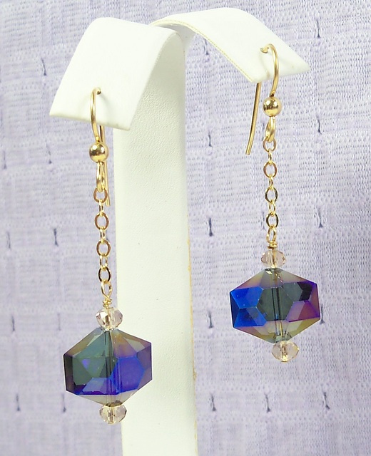 NEW! Purple Vitrail on Chain Earrings