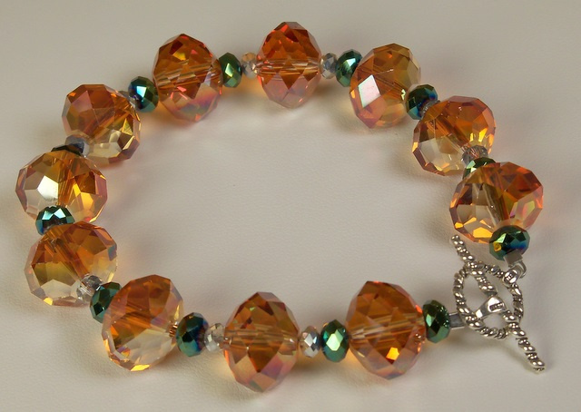 Copper and Green Light Bracelet