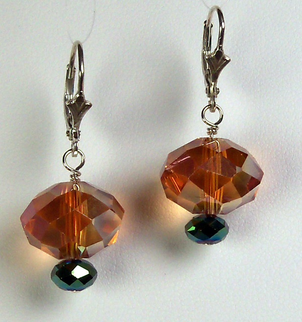 Copper and Green Light Earrings