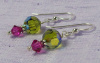 NEW! Swarovski Olive and Fuschia Earrings