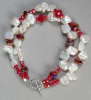 Pearl and Red Crystal Bracelet