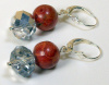 NEW! Sponge Coral and Chinese Crystal Earrings