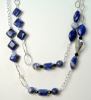 NEW! Sodalite and Crystal on Sterling Chain